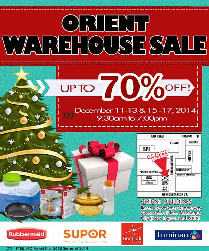 Orient Warehouse Sale (Rubbermaid, Supor, Luminarc) December 2014