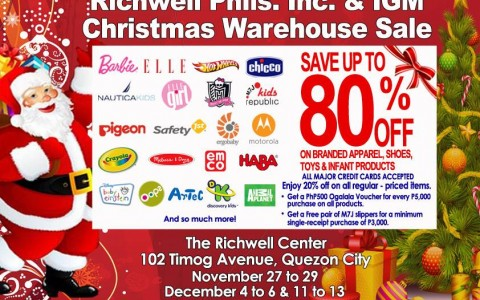 Richwell and IGM Christmas Warehouse Sale @ The Richwell Center December 2014