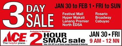 Ace Hardware 3-Day Sale January - February 2015