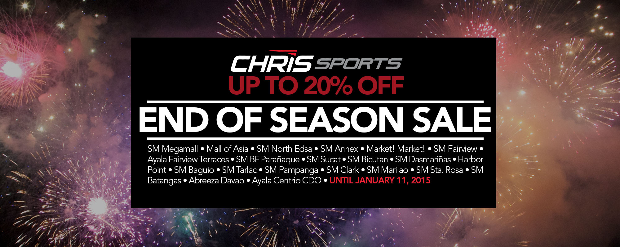 Chris Sports End of Season Sale January 2015