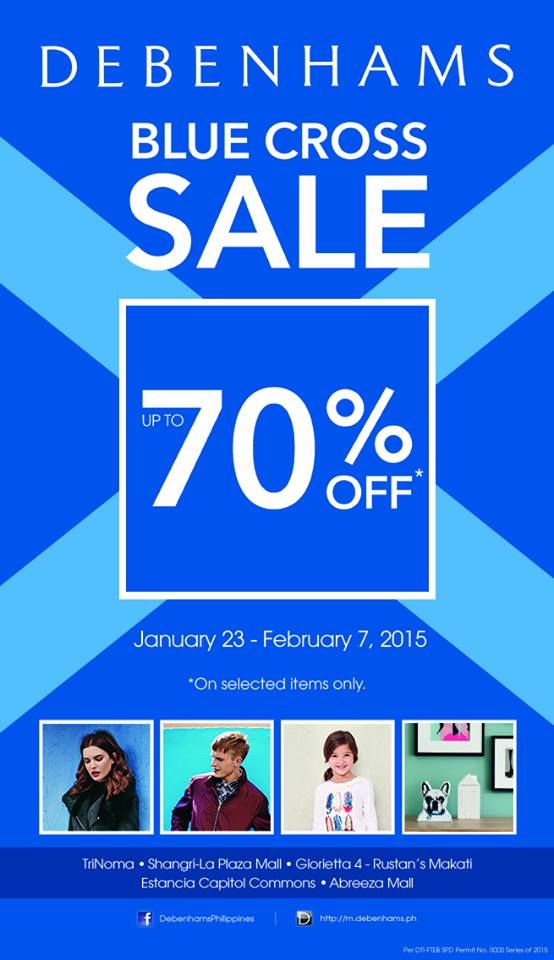 Debenhams Blue Cross Sale January - February 2015