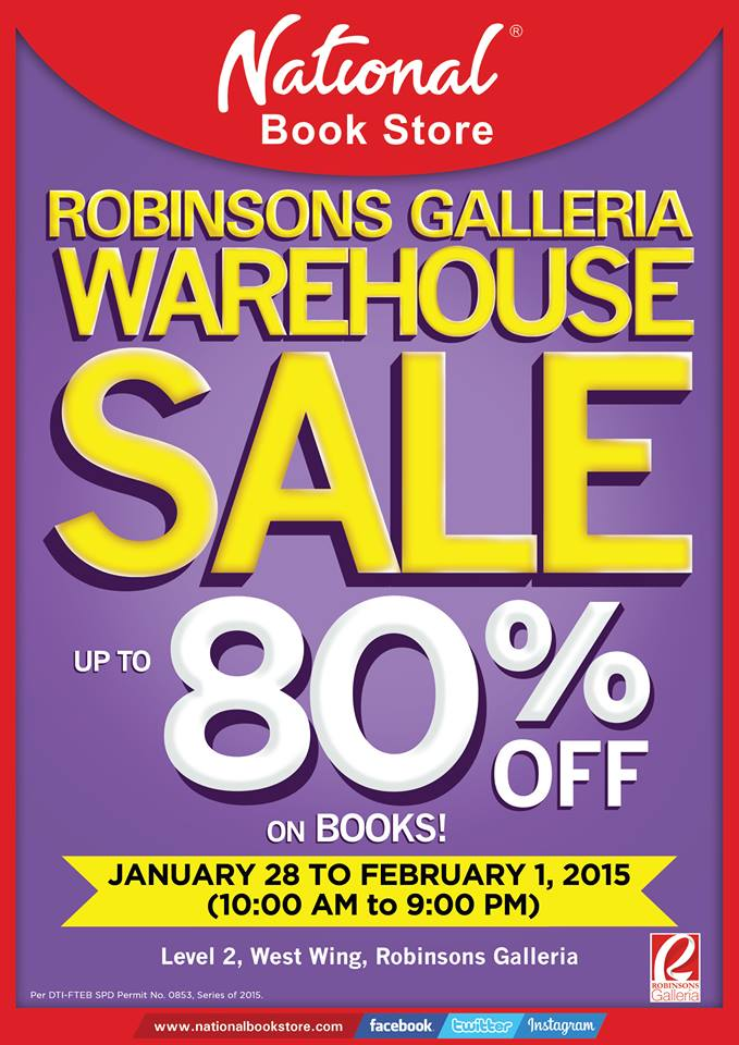 National Book Store Warehouse Sale @ Robinsons Galleria January - February 2015
