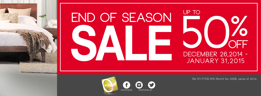 Our Home End of Season Sale December - January 2015