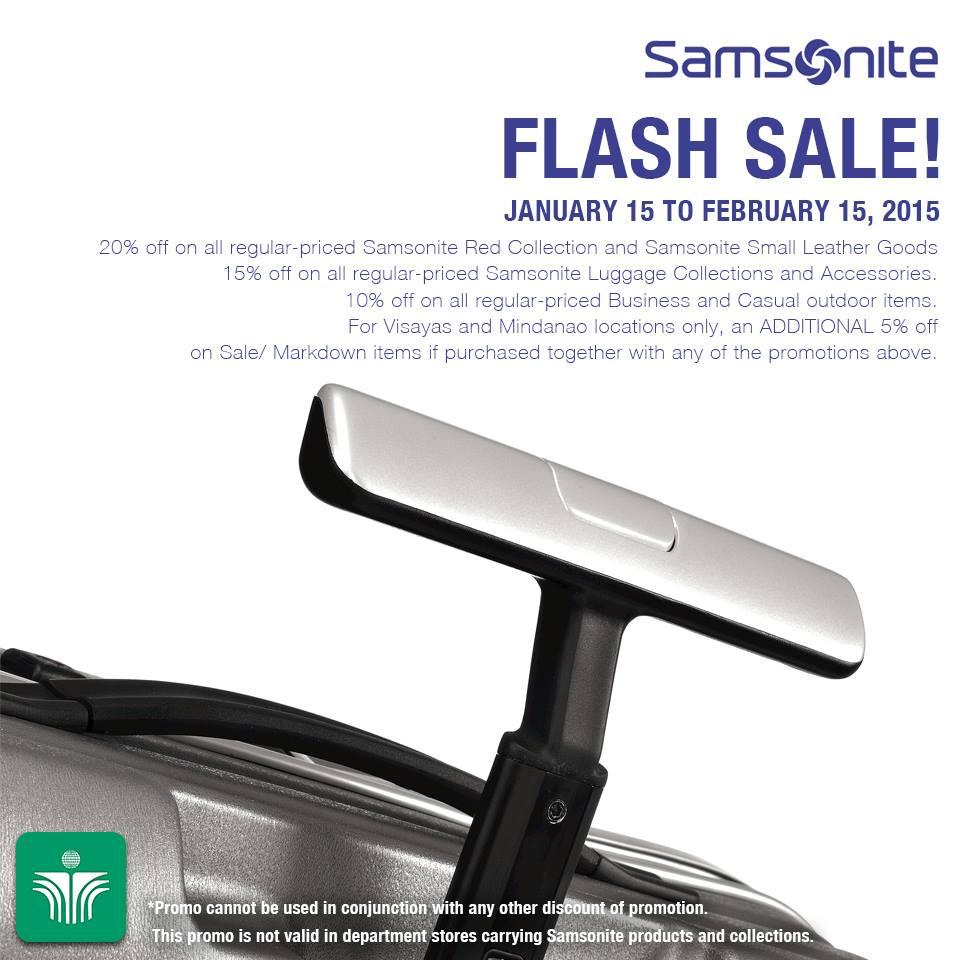 Samsonite Flash Sale January - February 2015