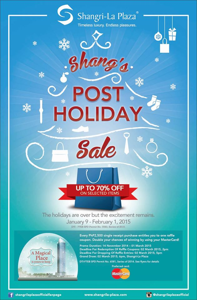 Shangri-La Plaza Mall Post Holiday Sale January - February 2015