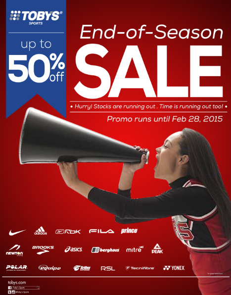 Toby's Sports End of Season Sale January - February 2015