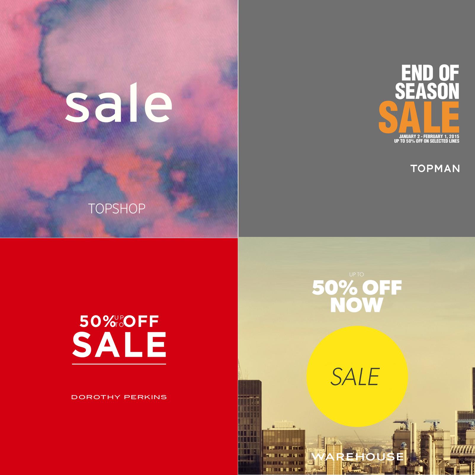 Topshop, Topman, Dorothy Perkins, Warehouse End of Season Sale January - February 2015