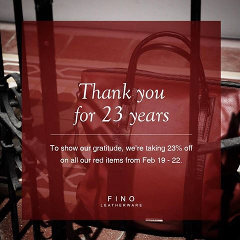 Fino Leatherware Anniversary Sale February 2015