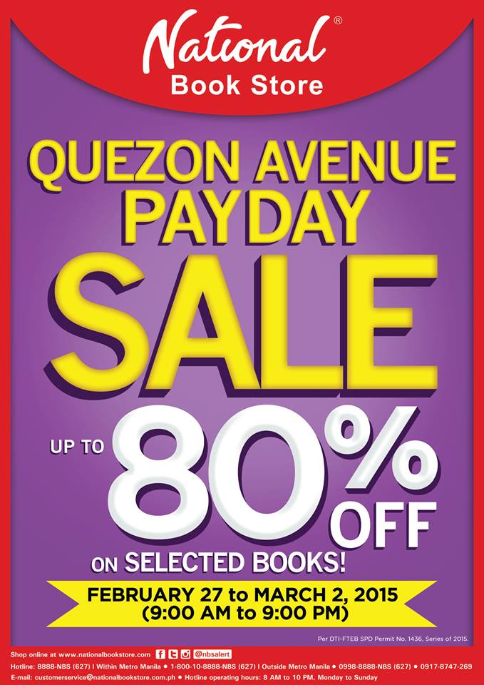 National Book Store Payday Sale @ NBS Quezon Avenue February - March 2015