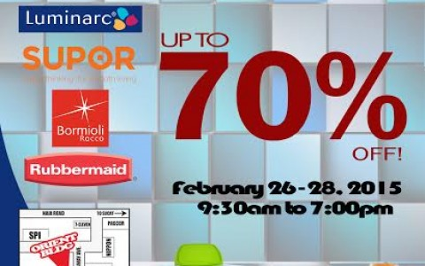 Orient Warehouse Sale (Rubbermaid, Supor, Luminarc) February 2015