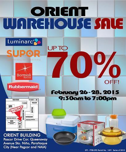 Orient Warehouse Sale (Rubbermaid, Supor, Luminarc) February 2015