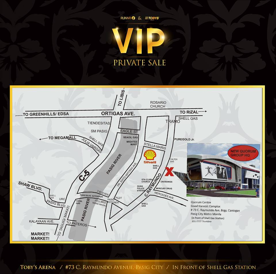 Runnr and Tobys Sports VIP Private Sale @ Quorum Center Location Map
