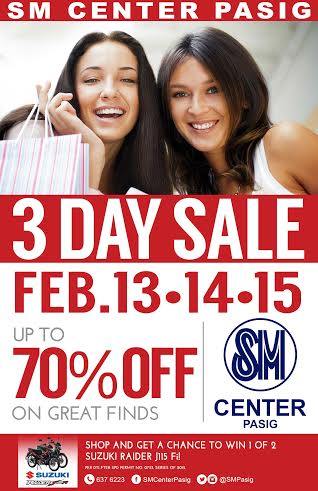 SM Center Pasig 3-Day Sale February 2015