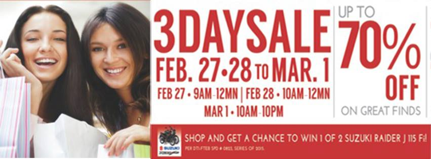 SM City Fairview 3-Day Sale February - March 2015