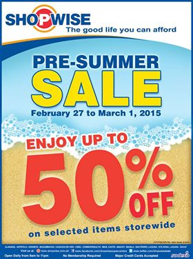 Shopwise Pre-Summer Sale February - March 2015