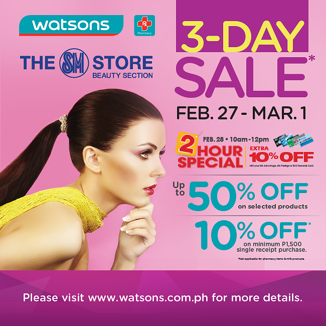 Watsons 3-Day Sale February - March 2015