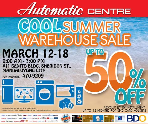 Automatic Centre Cool Summer Warehouse Sale @ Benito Building March 2015