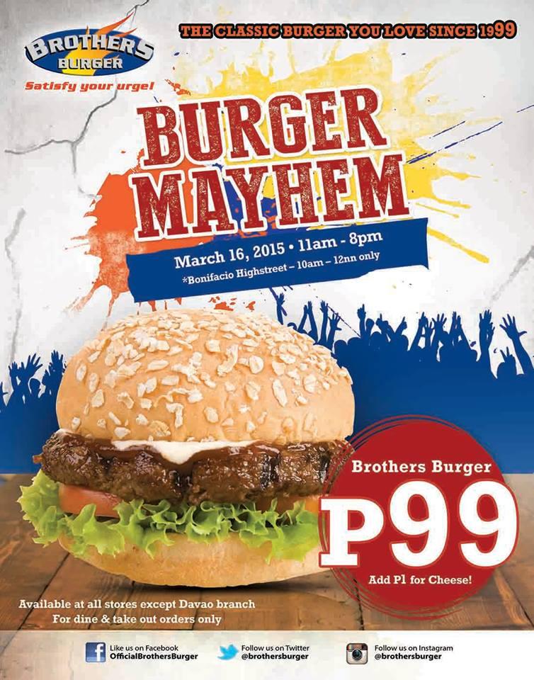 Brothers Burger Burger Mayhem Promo March 2015