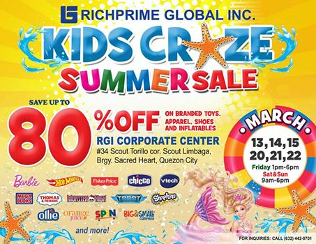Kids Craze Summer Sale @ RGI Corporate Center March 2015