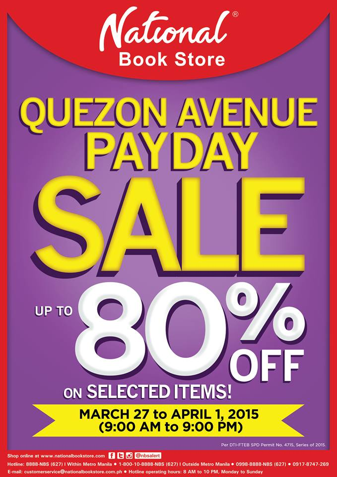 National Book Store Payday Sale @ NBS Quezon Avenue March - April 2015