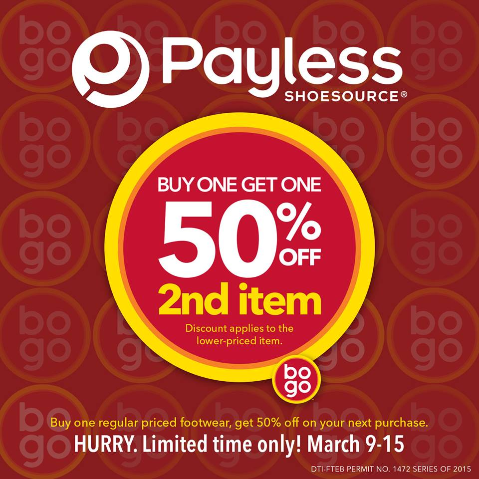 Payless Shoesource Buy 1 Get 2nd item at 50% off Promo March 2015