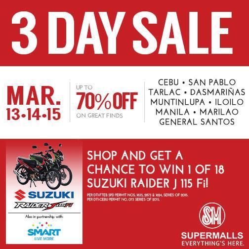 SM Supermalls 3-Day Sale March 2015