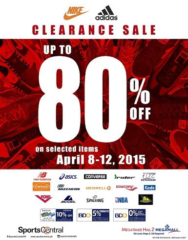Sports Central Clearance Sale @ SM Megatrade Hall April 2015