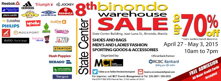 8th Binondo Warehouse Sale @ State Center Building April - May 2015