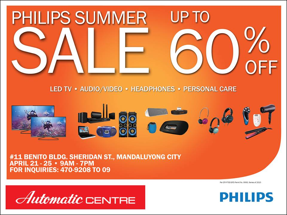 Automatic Centre Philips Summer Sale @ Benito Building April 2015