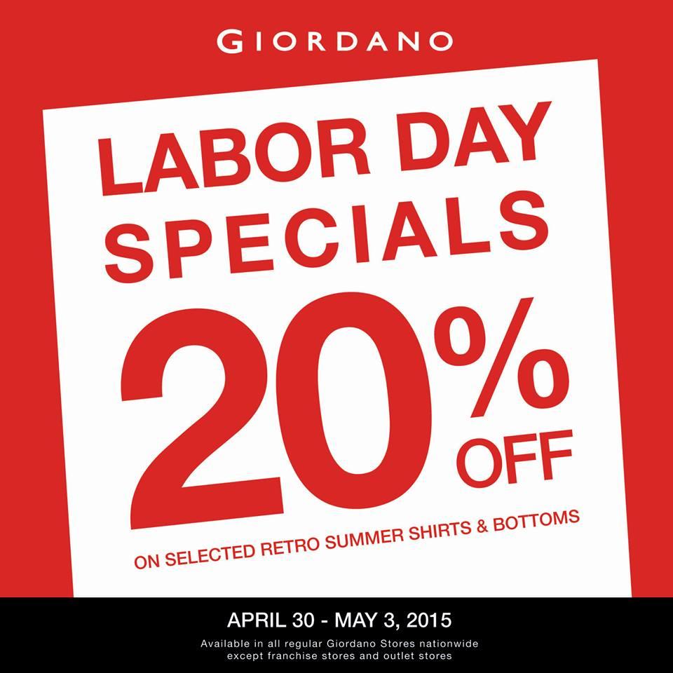 Giordano Labor Day Specials Promo April - May 2015