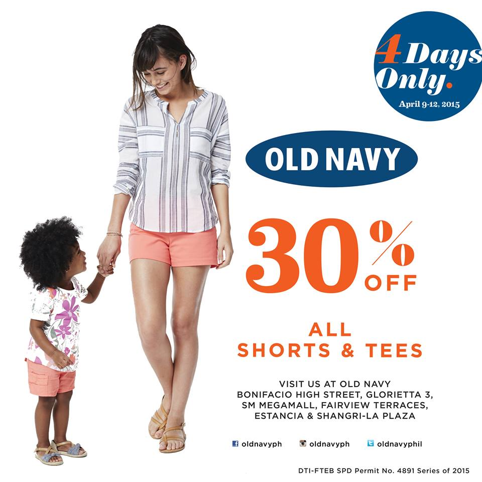 Old Navy Shorts and Tees Sale April 2015