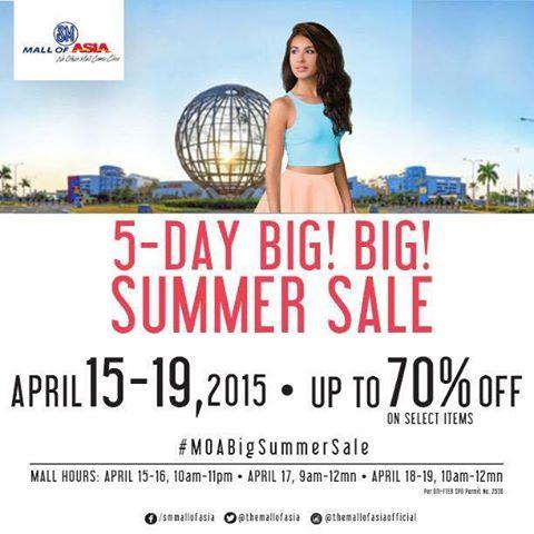 SM Mall of Asia Big Big Summer Sale April 2015