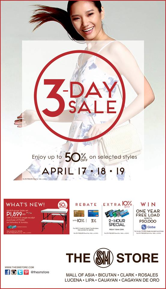 The SM Store 3-Day Sale April 2015