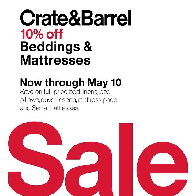 Crate & Barrel Beddings & Mattresses Sale April - May 2015