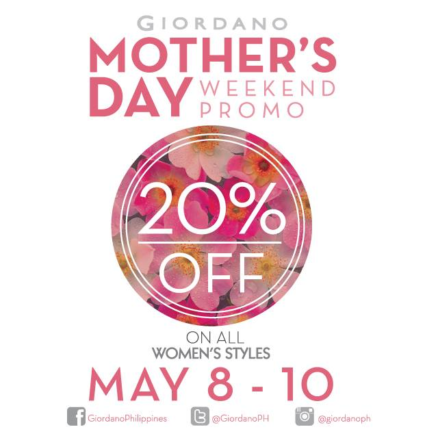 Giordano Mother's Day Weekend Promo May 2015