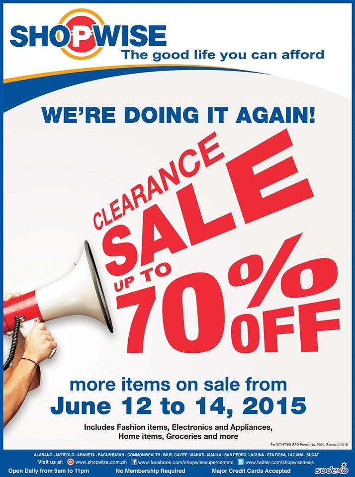 Shopwise Clearance Sale June 2015