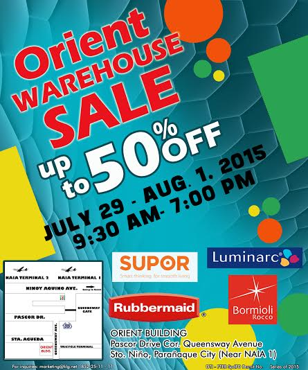 Orient Warehouse Sale (Rubbermaid, Supor, Luminarc) July - August 2015