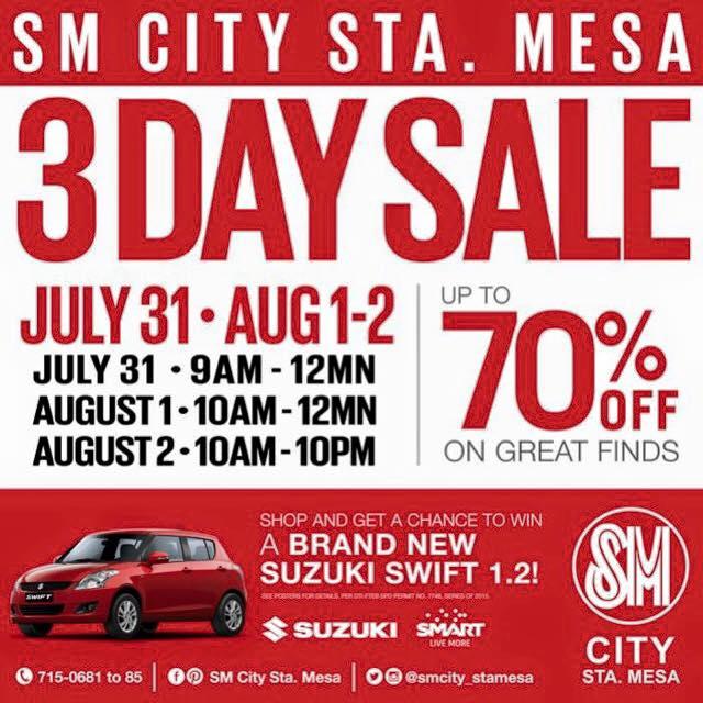 SM City Sta  Mesa 3-Day Sale July - August 2015 | Manila On Sale
