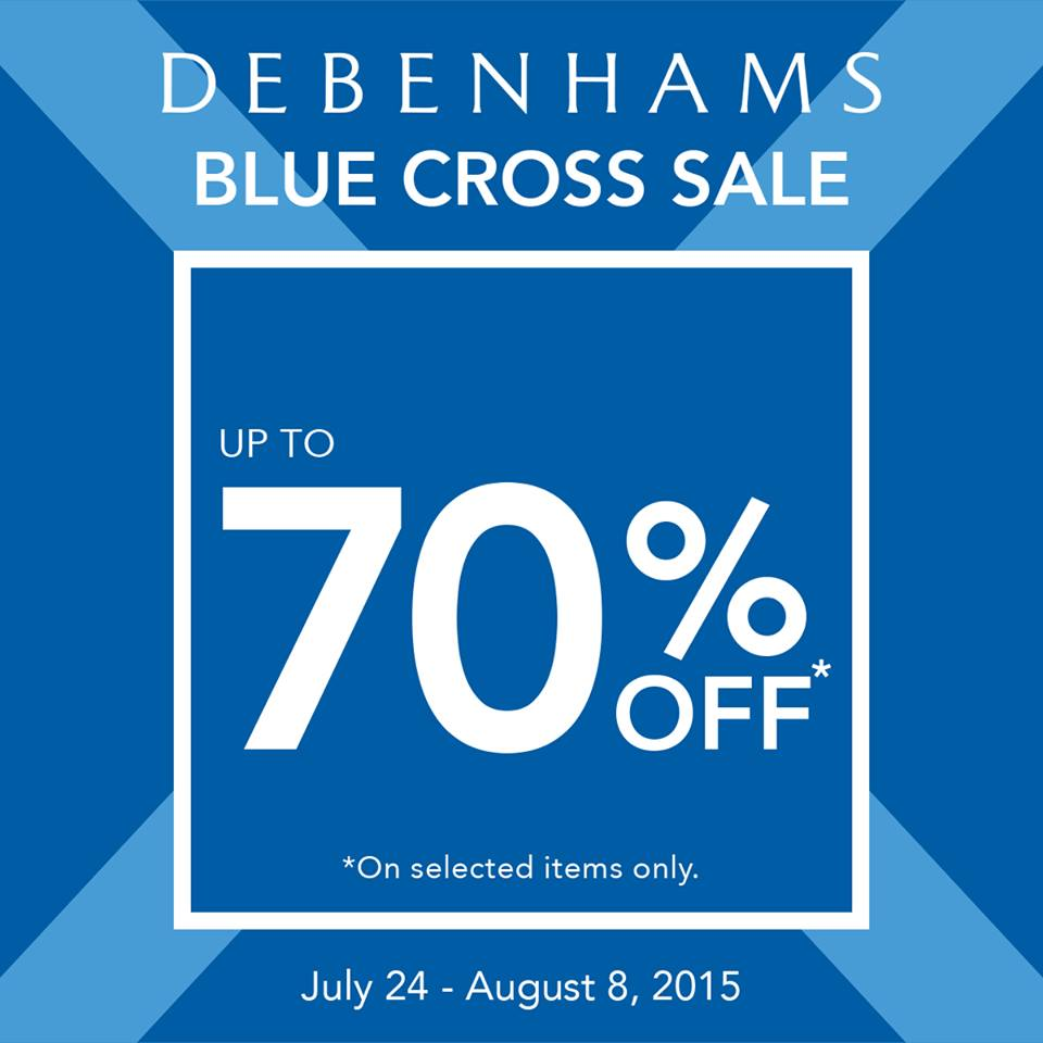 debenhams blue cross sale july-aug 2015 - poster