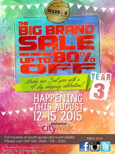 Big Brand Sale @ Eastwood City Walk August 2015