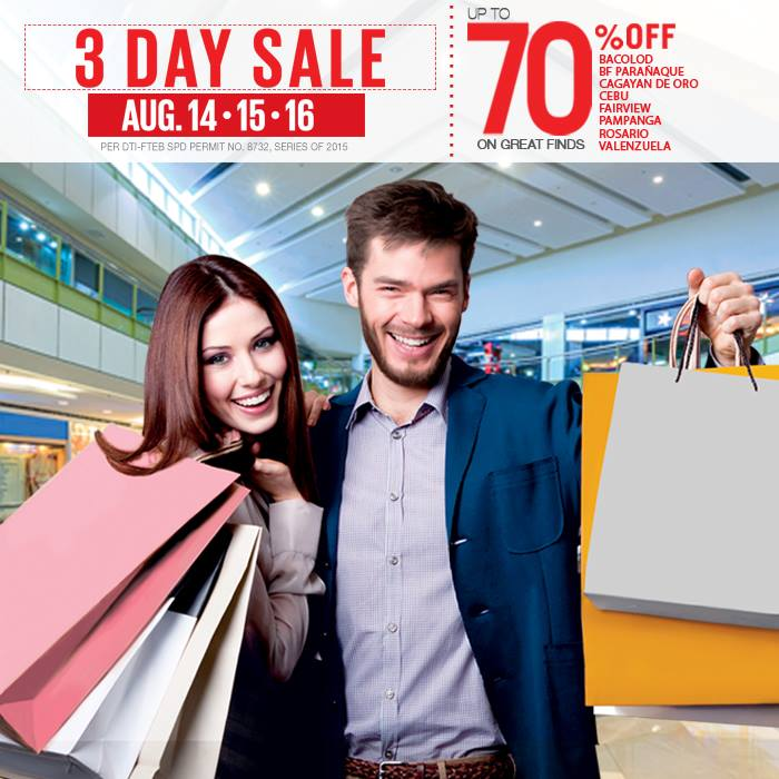 SM Supermalls 3-Day Sale August 2015