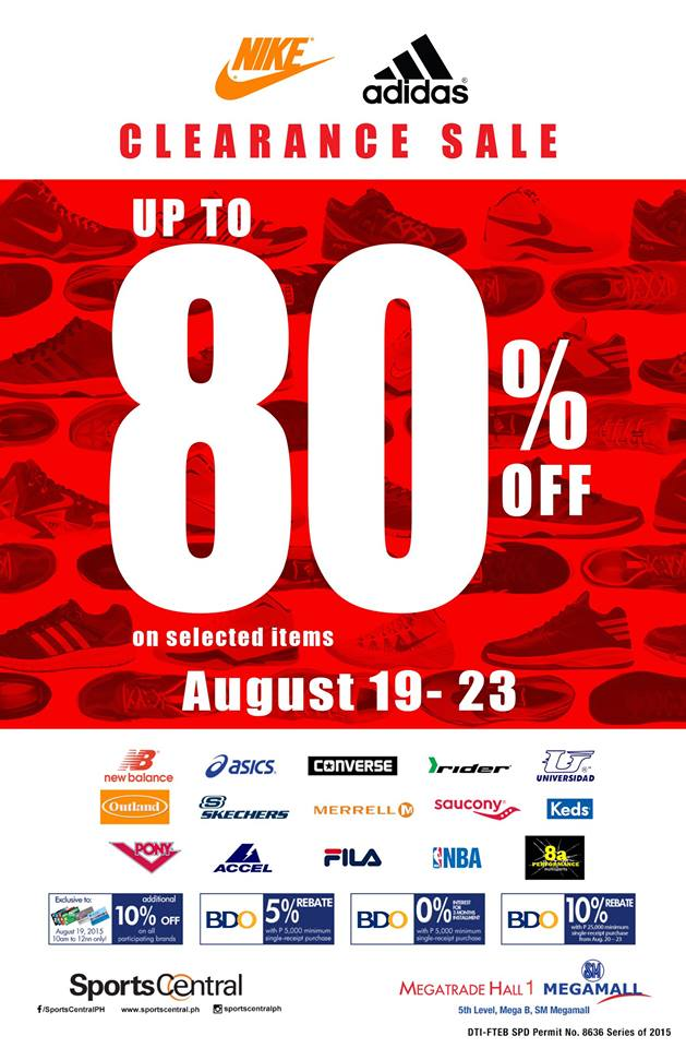 Sports Central Nike & Adidas Clearance Sale @ SM Megatrade Hall August 2015