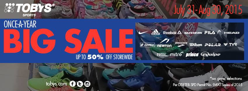 Toby's Sports Big Sale July - August 2015