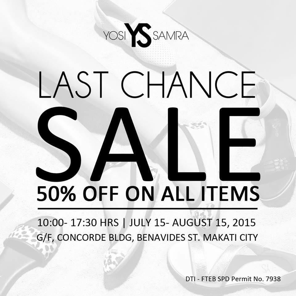 Yosi Samra Last Chance Sale July - August 2015