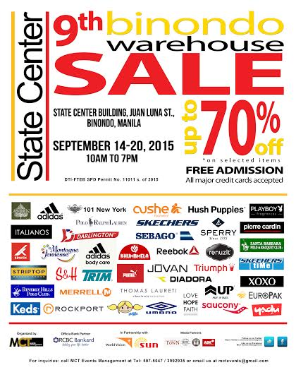 9th Binondo Warehouse Sale @ State Center Building September 2015