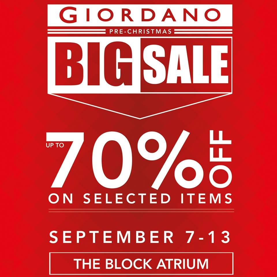 Giordano Pre-Christmas Sale September 2015
