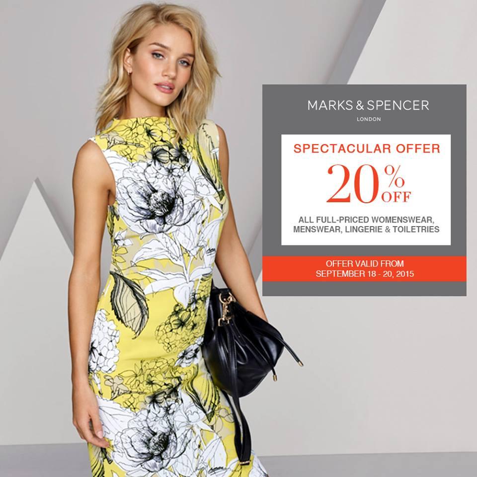 Marks & Spencer Spectacular Offer Sale September 2015