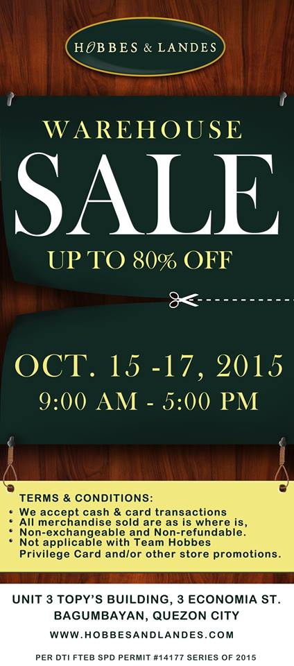 Hobbes & Landes Warehouse Sale @ Topys Building October 2015