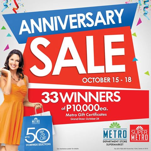 Metro Department Store and Super Metro Anniversary Sale October 2015
