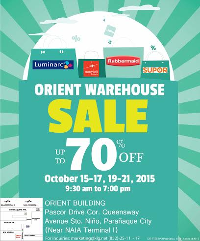 Orient Warehouse Sale (Rubbermaid, Supor, Luminarc) October 2015